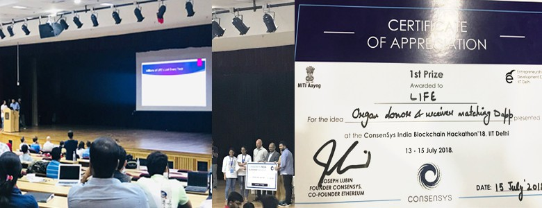 Raga Mouni IV-IT, Vyshnavi III CSE got First Prize worth of One Lakh @ ConsenSys India Blockchain Hackathon 18, IIT Delhi.